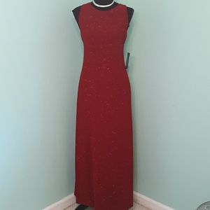 NWT backless red sparkle maxi dress